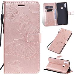 Embossing 3D Butterfly Leather Wallet Case for Samsung Galaxy A10s - Rose Gold