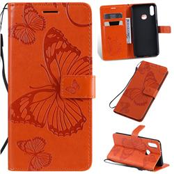 Embossing 3D Butterfly Leather Wallet Case for Samsung Galaxy A10s - Orange