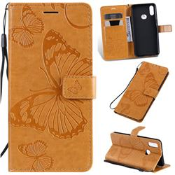Embossing 3D Butterfly Leather Wallet Case for Samsung Galaxy A10s - Yellow