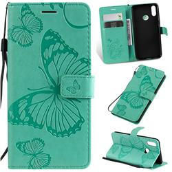 Embossing 3D Butterfly Leather Wallet Case for Samsung Galaxy A10s - Green