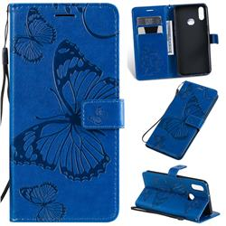 Embossing 3D Butterfly Leather Wallet Case for Samsung Galaxy A10s - Blue