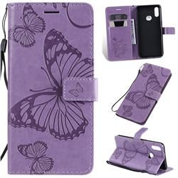 Embossing 3D Butterfly Leather Wallet Case for Samsung Galaxy A10s - Purple