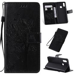 Embossing Butterfly Tree Leather Wallet Case for Samsung Galaxy A10s - Black
