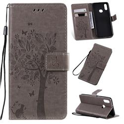 Embossing Butterfly Tree Leather Wallet Case for Samsung Galaxy A10s - Grey
