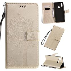 Embossing Butterfly Tree Leather Wallet Case for Samsung Galaxy A10s - Champagne