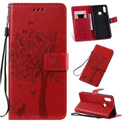Embossing Butterfly Tree Leather Wallet Case for Samsung Galaxy A10s - Red