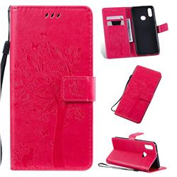 Embossing Butterfly Tree Leather Wallet Case for Samsung Galaxy A10s - Rose