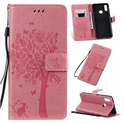 Embossing Butterfly Tree Leather Wallet Case for Samsung Galaxy A10s - Pink