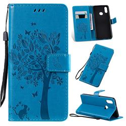 Embossing Butterfly Tree Leather Wallet Case for Samsung Galaxy A10s - Blue