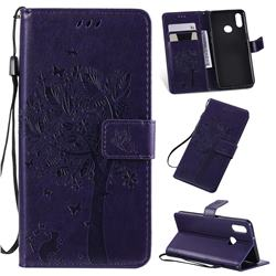 Embossing Butterfly Tree Leather Wallet Case for Samsung Galaxy A10s - Purple