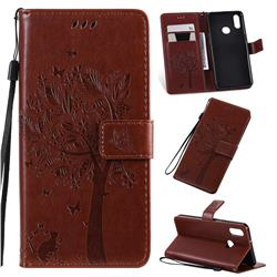 Embossing Butterfly Tree Leather Wallet Case for Samsung Galaxy A10s - Coffee