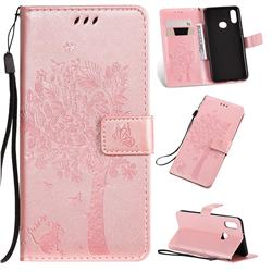 Embossing Butterfly Tree Leather Wallet Case for Samsung Galaxy A10s - Rose Pink