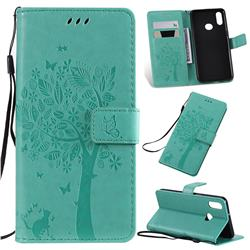 Embossing Butterfly Tree Leather Wallet Case for Samsung Galaxy A10s - Cyan