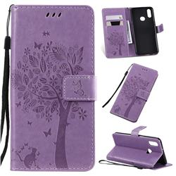 Embossing Butterfly Tree Leather Wallet Case for Samsung Galaxy A10s - Violet