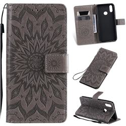 Embossing Sunflower Leather Wallet Case for Samsung Galaxy A10s - Gray