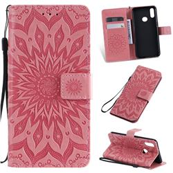 Embossing Sunflower Leather Wallet Case for Samsung Galaxy A10s - Pink