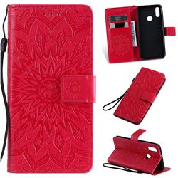 Embossing Sunflower Leather Wallet Case for Samsung Galaxy A10s - Red