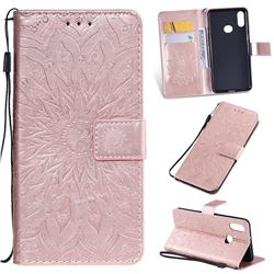 Embossing Sunflower Leather Wallet Case for Samsung Galaxy A10s - Rose Gold