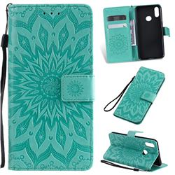 Embossing Sunflower Leather Wallet Case for Samsung Galaxy A10s - Green
