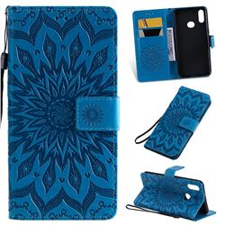 Embossing Sunflower Leather Wallet Case for Samsung Galaxy A10s - Blue