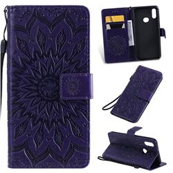Embossing Sunflower Leather Wallet Case for Samsung Galaxy A10s - Purple