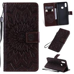 Embossing Sunflower Leather Wallet Case for Samsung Galaxy A10s - Brown