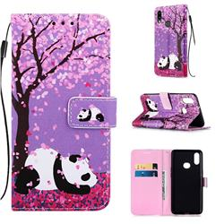 Cherry Blossom Panda Matte Leather Wallet Phone Case for Samsung Galaxy A10s
