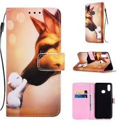 Hound Kiss Matte Leather Wallet Phone Case for Samsung Galaxy A10s