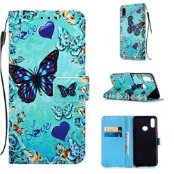 Love Butterfly Matte Leather Wallet Phone Case for Samsung Galaxy A10s