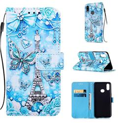 Tower Butterfly Matte Leather Wallet Phone Case for Samsung Galaxy A10s