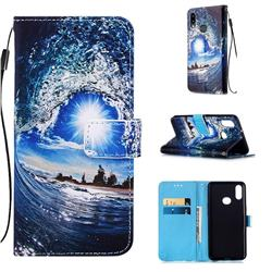 Waves and Sun Matte Leather Wallet Phone Case for Samsung Galaxy A10s