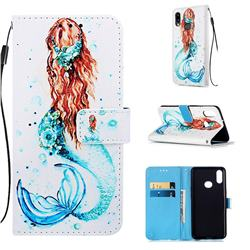 Mermaid Matte Leather Wallet Phone Case for Samsung Galaxy A10s