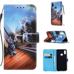 Mirror Cat Matte Leather Wallet Phone Case for Samsung Galaxy A10s