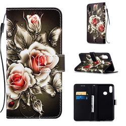 Black Rose Matte Leather Wallet Phone Case for Samsung Galaxy A10s