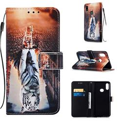 Cat and Tiger Matte Leather Wallet Phone Case for Samsung Galaxy A10s