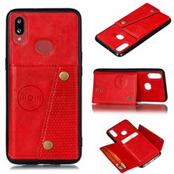 Retro Multifunction Card Slots Stand Leather Coated Phone Back Cover for Samsung Galaxy A10s - Red