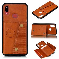 Retro Multifunction Card Slots Stand Leather Coated Phone Back Cover for Samsung Galaxy A10s - Brown