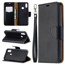Classic Luxury Litchi Leather Phone Wallet Case for Samsung Galaxy A10s - Black