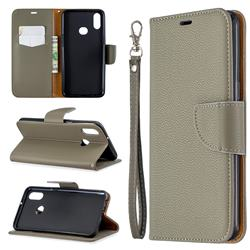Classic Luxury Litchi Leather Phone Wallet Case for Samsung Galaxy A10s - Gray