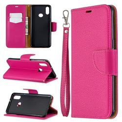 Classic Luxury Litchi Leather Phone Wallet Case for Samsung Galaxy A10s - Rose