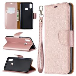 Classic Luxury Litchi Leather Phone Wallet Case for Samsung Galaxy A10s - Golden