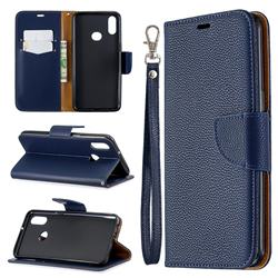 Classic Luxury Litchi Leather Phone Wallet Case for Samsung Galaxy A10s - Blue