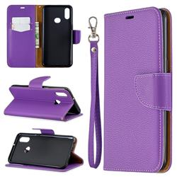 Classic Luxury Litchi Leather Phone Wallet Case for Samsung Galaxy A10s - Purple