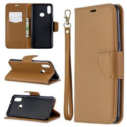 Classic Luxury Litchi Leather Phone Wallet Case for Samsung Galaxy A10s - Brown