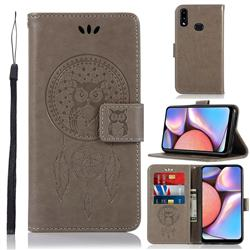 Intricate Embossing Owl Campanula Leather Wallet Case for Samsung Galaxy A10s - Grey