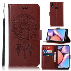 Intricate Embossing Owl Campanula Leather Wallet Case for Samsung Galaxy A10s - Brown