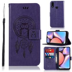 Intricate Embossing Owl Campanula Leather Wallet Case for Samsung Galaxy A10s - Purple