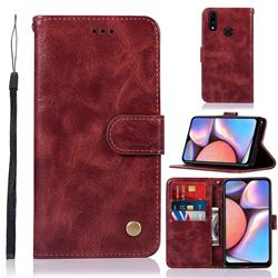 Luxury Retro Leather Wallet Case for Samsung Galaxy A10s - Wine Red