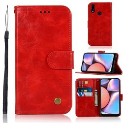 Luxury Retro Leather Wallet Case for Samsung Galaxy A10s - Red
