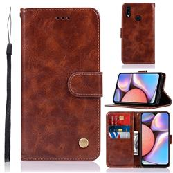 Luxury Retro Leather Wallet Case for Samsung Galaxy A10s - Brown